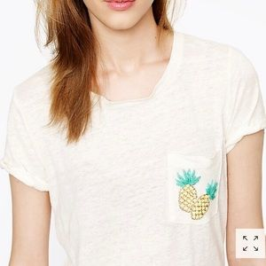 J. Crew Women's Linen 🍍Pineapple-Pocket Tee